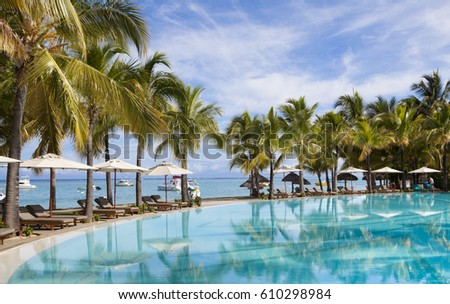 Swimming pool of luxurious five stars holiday resort on Mauritius. Favourite honeymoon destnation.