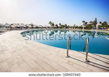 Swimming pool of luxury hotel, Tunisia. - stock photo