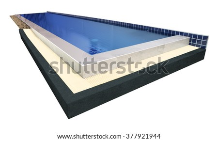 Swimming pool of villa on white background.