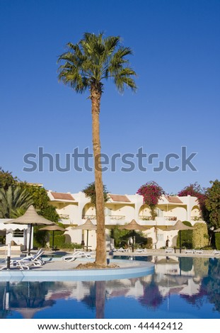 Swimming pool on a sunny day. Hurghada city in Egypt.