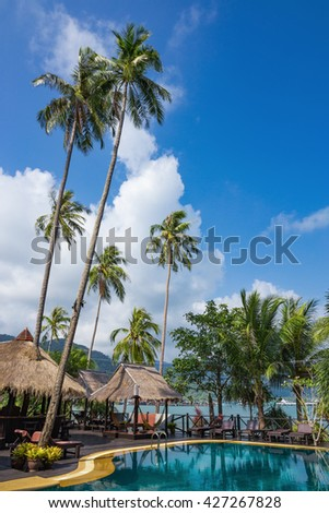 Swimming pool on a tropical beach