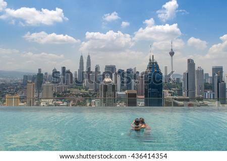 Swimming pool on roof top beautiful stock photo 410063323 - Swimming pool specialist malaysia ...