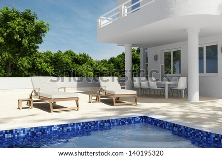 Swimming pool scenario with blue sky and seats
