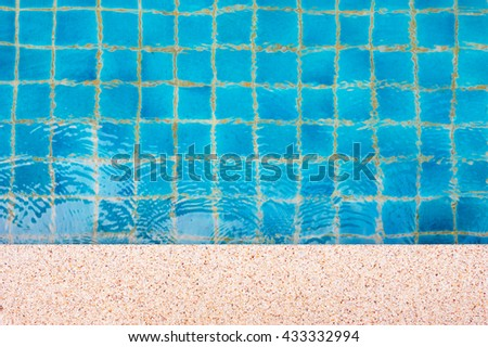 Swimming pool top view, Edge of pool for design, Waves hit the edge of pool - stock photo