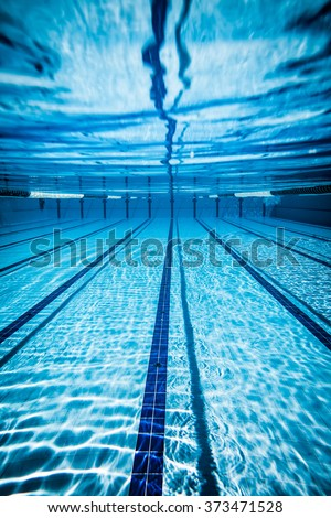 Swimming pool under water background - stock photo