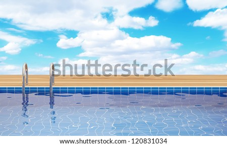 Swimming Pool with beautiful clouds behind - stock photo