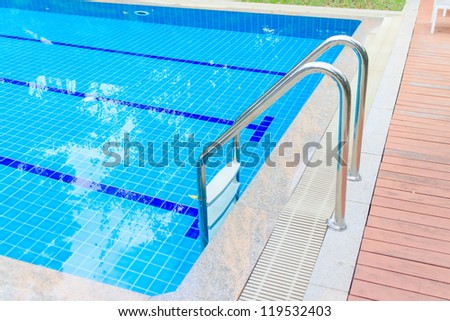 Swimming pool with clear water for exercise and relax.