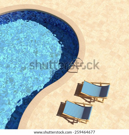 Swimming pool with deckchairs top view. 3D render.