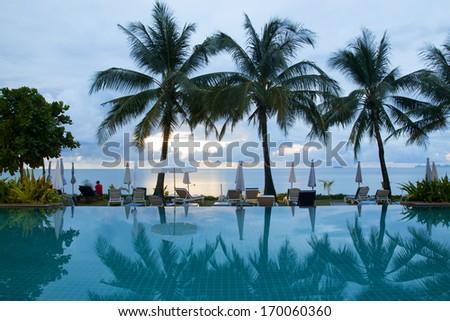 swimming pooles beach resorts - stock photo