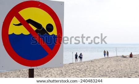 Swimming prohibited - stock photo