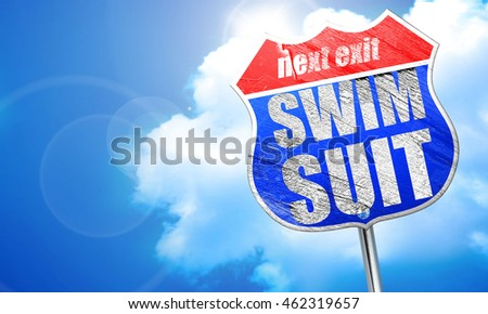 swimsuit, 3D rendering, blue street sign