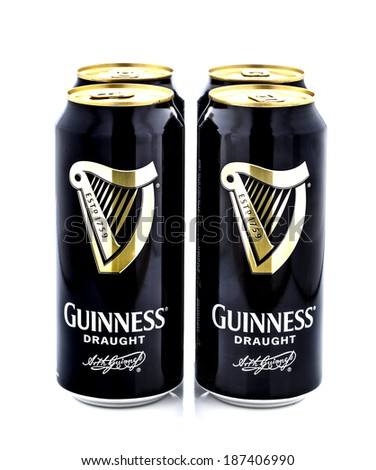SWINDON, UK - APRIL 15, 2014: Four Pack of Guinness, the popular Irish beer on a white background - stock photo