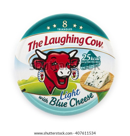 SWINDON, UK - APRIL 18, 2016: Packet of The Laughing Cow light with blue cheese spread isolated on white background - stock photo