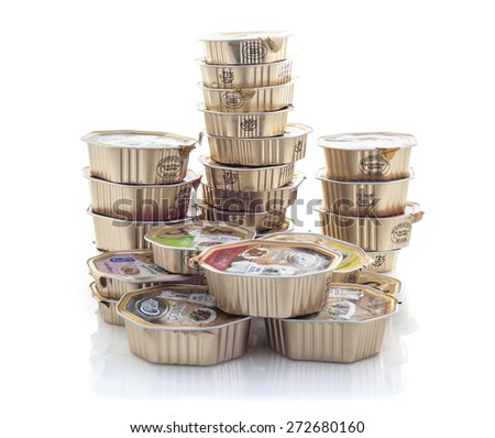 SWINDON, UK - APRIL 2, 2015: Stack of Sheba Cat Food and Cesar Dog Food on a White Background. - stock photo