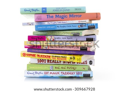 SWINDON, UK - AUGUST 25, 2015: Collection Of Childrens Books on a White Background - stock photo