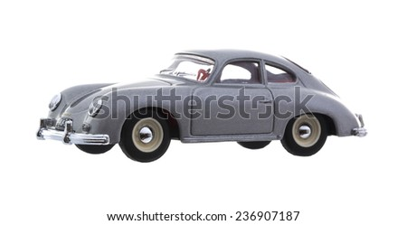 SWINDON, UK - DECEMBER 2, 2014: A Dinky 1958  Porsche 356A Coupe Die cast model on a whithe background