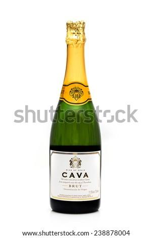 SWINDON, UK - DECEMBER 2, 2014:Bottle of Spanish Cava Sparkling Wine on a White Background - stock photo