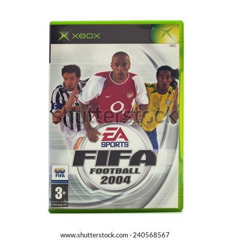 SWINDON, UK - DECEMBER 29, 2014: FIFA 2004 by EA Sports for the XBox console