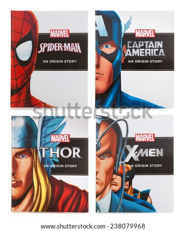 SWINDON, UK - DECEMBER 16, 2014:Four MARVEL Books Origin Storys on a White background - stock photo