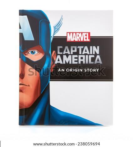 SWINDON, UK - DECEMBER 16, 2014:MARVEL Book Captain America an Origin Story on a White background - stock photo