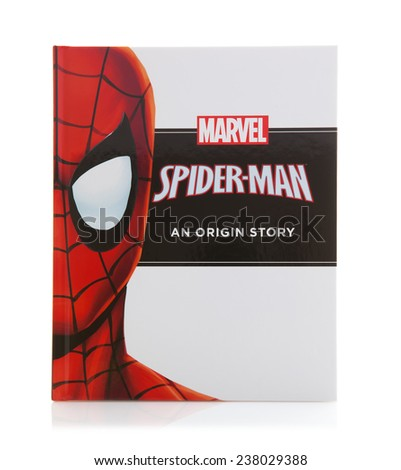 SWINDON, UK - DECEMBER 16, 2014:MARVEL Book Spiderman an Origin Story on a White background - stock photo