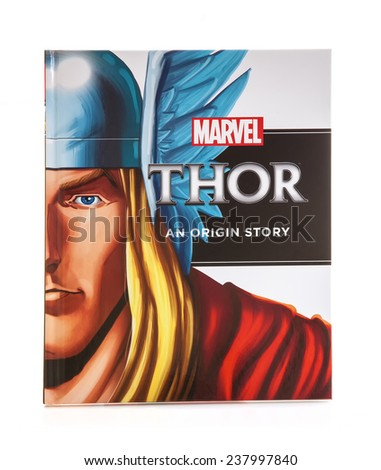 SWINDON, UK - DECEMBER 16, 2014:MARVEL Book THOR an Origin Story on a White background - stock photo
