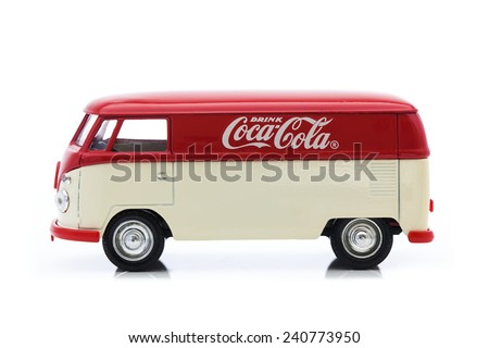 SWINDON, UK - DECEMBER 30, 2014:Old VW Van With Coca-Cola Logo on a White Background - stock photo