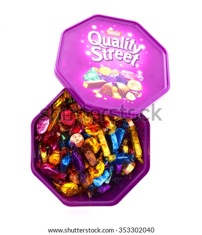 SWINDON, UK - DECEMBER 20, 2015: Quality Street Chocolate Isolated On White Background. A popular selection of individual sweets, usually contained in tins or boxes, made by Nestle in England.