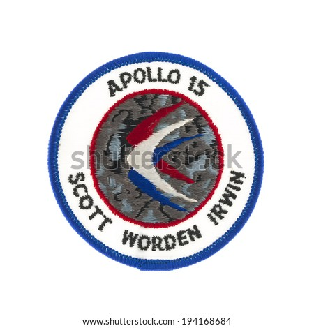 SWINDON, UK - FEBRUARY 23, 2014: Apollo 15 Mission Badge from the  Moon landing - stock photo