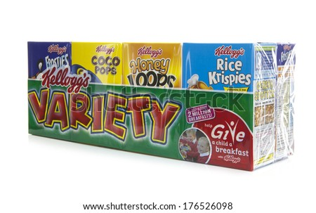 SWINDON, UK - FEBRUARY 11, 2014: Kelloggs cereals on a white background - stock photo