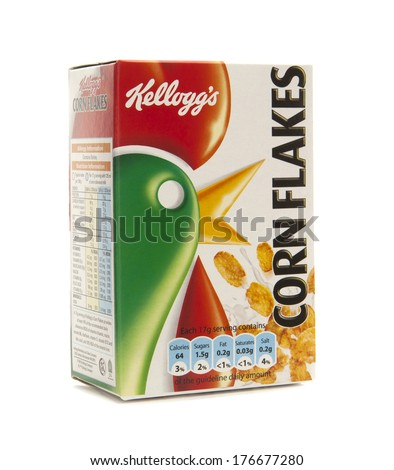 SWINDON, UK - FEBRUARY 11, 2014: Kelloggs Corn Flakes on a white background - stock photo