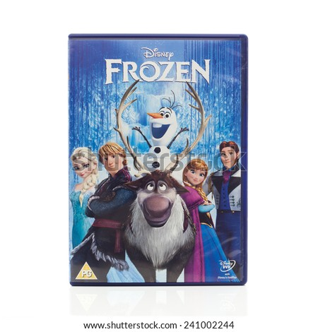 SWINDON, UK - JANUARY 1, 2015: Disney Animation Studios 'Frozen DVD on a White Background - stock photo