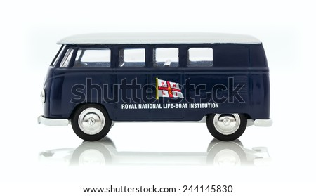 SWINDON, UK - JANUARY 13, 2015: VW Van with RNLI Logo on a White Background - stock photo