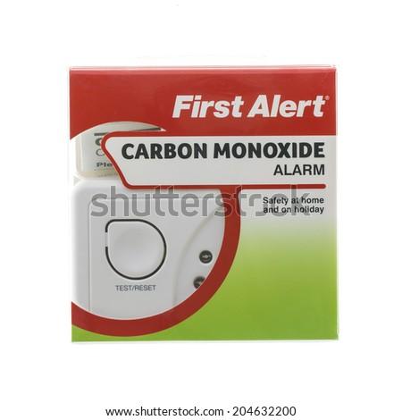 SWINDON, UK - JULY 13, 2014:  First Alert CO Carbon Monoxide Alarm on a White Background - stock photo