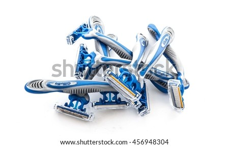 SWINDON, UK - JULY 11, 2016: 8 Gillette Sensor 3 Disposable Razors on a white background - stock photo