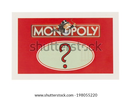 SWINDON, UK - JUNE 11, 2014: English Edition of Monopoly showing A Chance Card,  The classic trading game from Parker Brothers was first introduced to America in 1935.  - stock photo