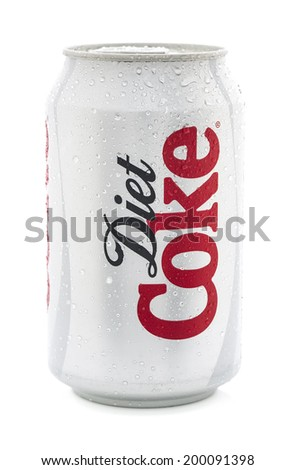 SWINDON, UK - JUNE 22, 2014:Ice Cold Can of Diet Coca-Cola on a white background  - stock photo