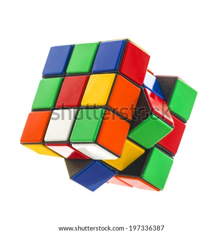 SWINDON, UK - JUNE 8, 2014:  Rubik's cube on a White Background. The  Rubik's Cube was  invented by the Hungarian architect Erno Rubik in 1974.
