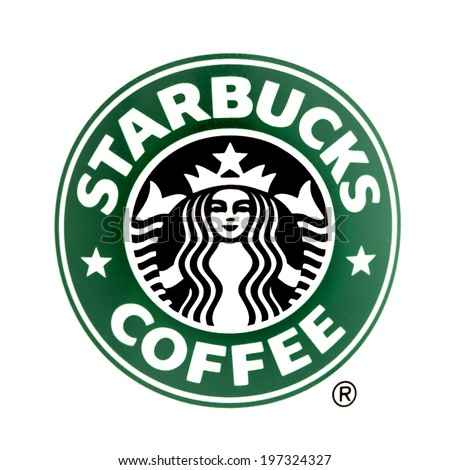 SWINDON, UK - JUNE 8, 2014: Starbucks logo on a White Background, Starbucks is the largest coffeehouse company in the world