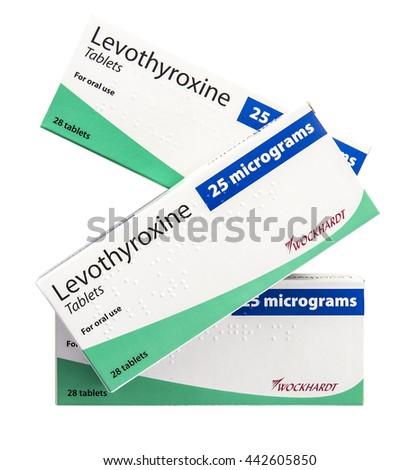 SWINDON, UK - JUNE 25, 2016: Three boex of 25 micrograms tablets of Levothyroxine Used as drug to treat hypothyroidism - stock photo