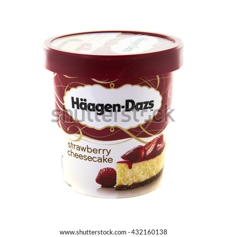 SWINDON, UK - JUNE 3, 2016: Tub of Haagen-Dazs iStrawgerry Cheescake ce cream on a white background