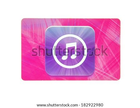 SWINDON, UK - MARCH 20, 2014: Apple iTunes card on a white background - stock photo