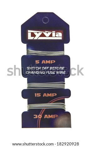SWINDON, UK - MARCH 21, 2014: Card of Lyvia Fuse Wire on a white background
