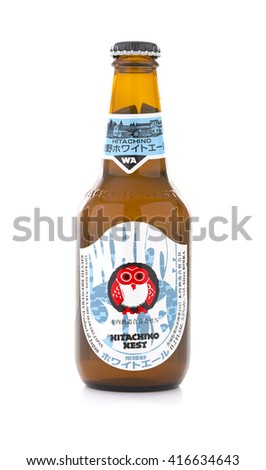 SWINDON, UK - MAY 2, 2016: Bottle of Hitachino Nest Beer on a white background, The company's most popular beer