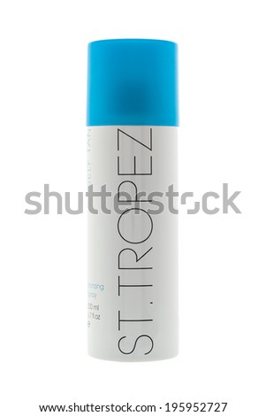 SWINDON, UK - MAY 31, 2014: Can Of ST-TROPEZ Spray Tan on a White Background