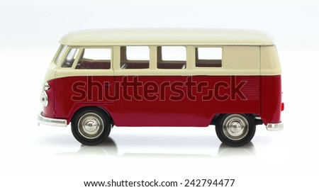 SWINDON, UK - MAY 25, 2014:Classic Old VW Camper Made By Corgi on a White Background