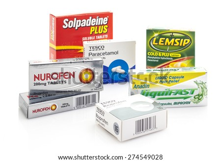 SWINDON, UK - MAY 3, 2015: Colection of Cold flu and pain relief, Boxes of Nurofen, paracetanol,Ibuprofen, Lemsip
