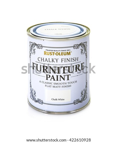 SWINDON, UK - MAY 2, 2016: Rust-oleum Chalky Finish Furniture Paint on a white background