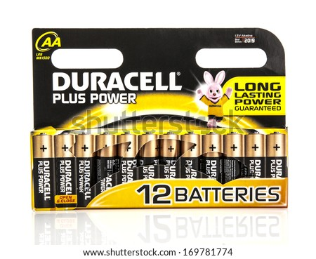SWINDON, UK - May 18th, 2013: Pack of Duracell Batteries, Duracell is an American brand of batteries and smart power solutions manufactured by Procter & Gamble - stock photo