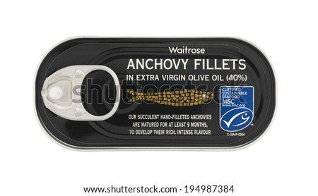 SWINDON, UK - MAY 26, 2014: Tin Of Waitrose Anchovy Fillets in Olive Oil On A White Background
